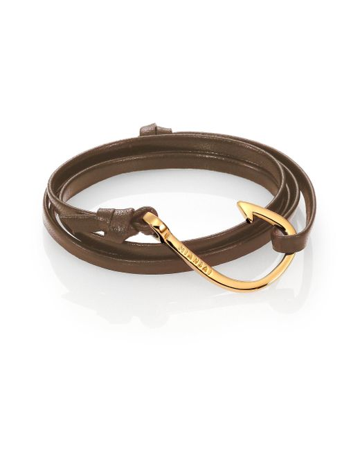 Miansai - Brown Hook Leather Bracelet/goldtone - Lyst