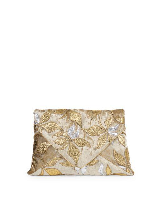 Dries Van Noten - Metallic Floral Envelope Clutch - Lyst