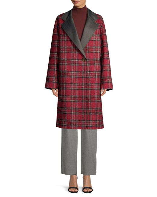 Lafayette 148 New York - Red Braylie Plaid Coat - Lyst