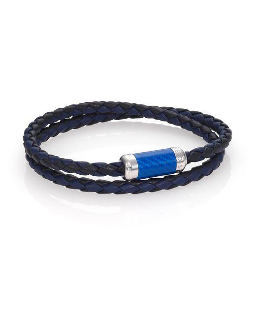 Tateossian - Blue Leather, Carbon Fiber & Sterling Silver Bicolor Braided Bracelet for Men - Lyst