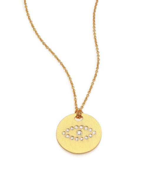 Roberto Coin | Metallic Tiny Treasures Diamond & 18k Yellow Gold Evil Eye Disc Pendant Necklace | Lyst