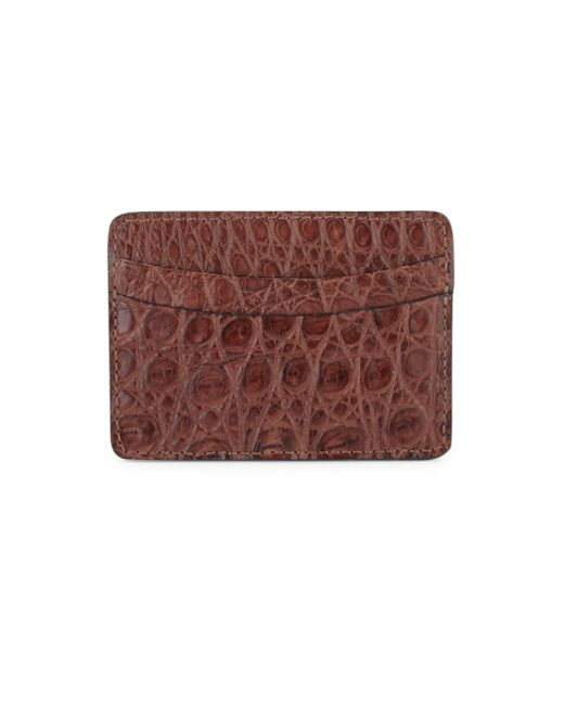 Saks Fifth Avenue | Brown Crocodile Card Case for Men | Lyst