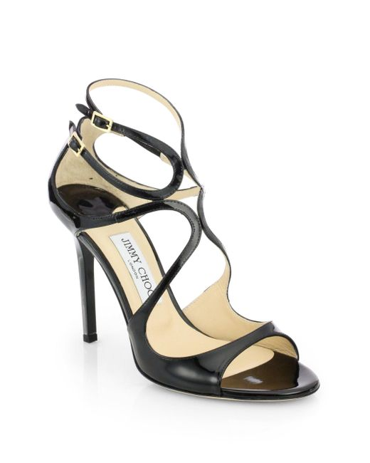 Jimmy Choo | Black Lang 100 Strappy Patent Leather Sandals | Lyst