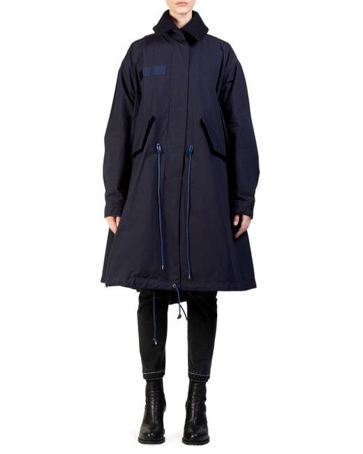 Sacai - Blue Two-tier Wool & Nylon Oxford Coat - Lyst