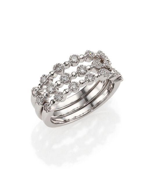 Kwiat   Stardust Diamond & 18k White Gold Stacking Ring Set   Lyst