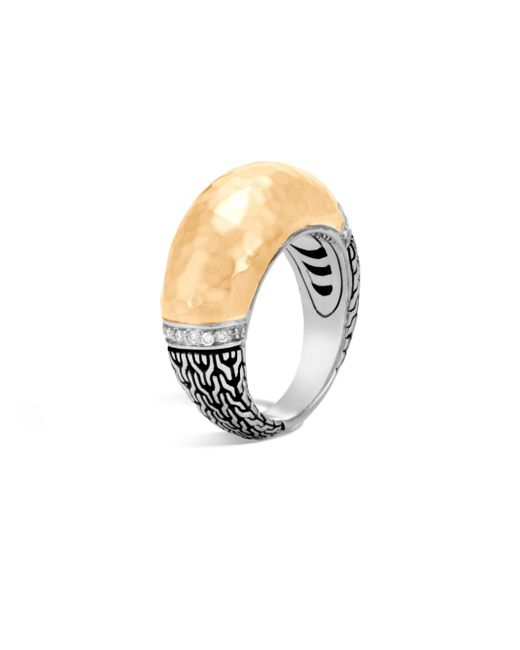 John Hardy - Metallic Classic Chain Diamond, Hammered 18k Gold & Silver Dome Ring - Lyst