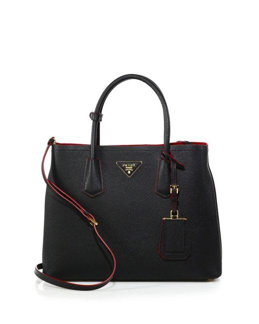 Prada - Black Saffiano Cuir Medium Double Bag - Lyst