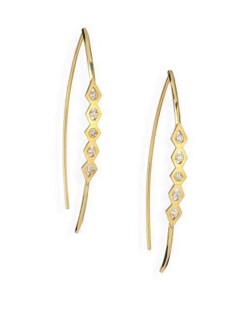 Ron Hami | Metallic Rain Diamond & 18k Yellow Gold Wishbone Threader Drop Earrings | Lyst