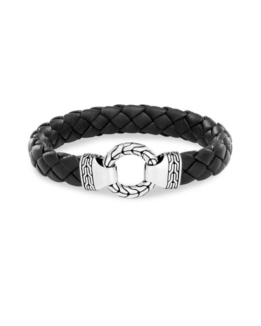 John Hardy - Men's Sterling Silver Classic Chain Ring Bracelet With Braided Black Leather for Men - Lyst