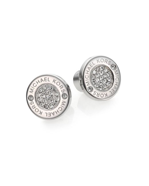 Michael Kors | Metallic Heritage Plaque Pave Logo Stud Earrings/silvertone | Lyst