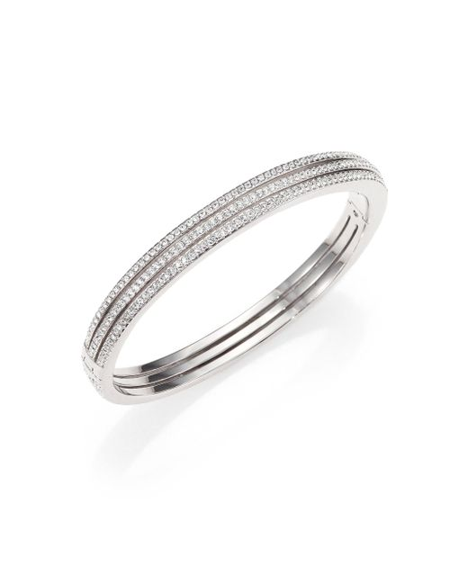 Adriana Orsini | Metallic Pave Crystal Three-row Bangle Bracelet/silvertone | Lyst