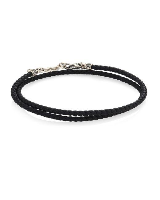 John Hardy - Black Sterling Silver & Leather Beaded Wrap Bracelet - Lyst