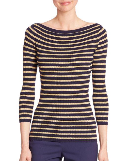 Michael Kors | Metallic Striped Merino Wool Boatneck Sweater | Lyst