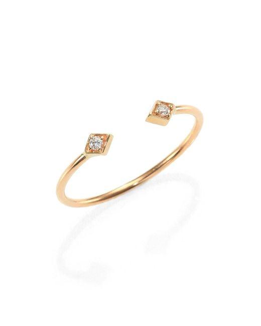 Zoe Chicco   Metallic Diamond & 14k Yellow Gold Double Kite Open Ring   Lyst