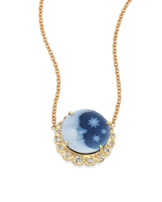 Jacquie Aiche - Blue Moon & Stars Diamond & 14k Yellow Gold Cameo Necklace - Lyst