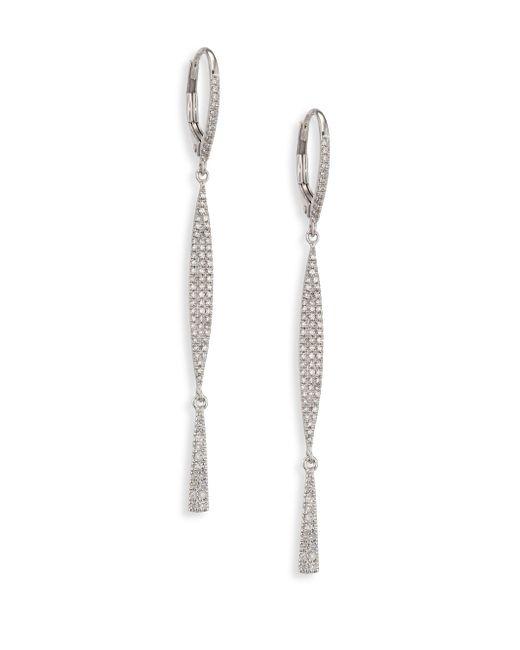 Meira T - Metallic Diamond & 14k White Gold Drop Earrings - Lyst