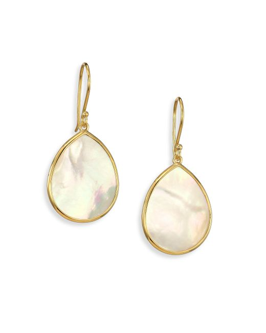 Ippolita - White Polished Rock Candy Mother-of-pearl & 18k Yellow Gold Mini Teardrop Earrings - Lyst