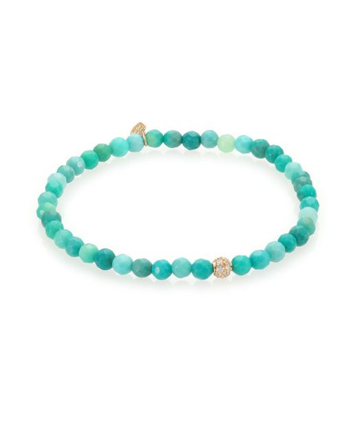 Sydney Evan | Blue Diamond, Green Opal & 14k Yellow Gold Ball Beaded Stretch Bracelet | Lyst