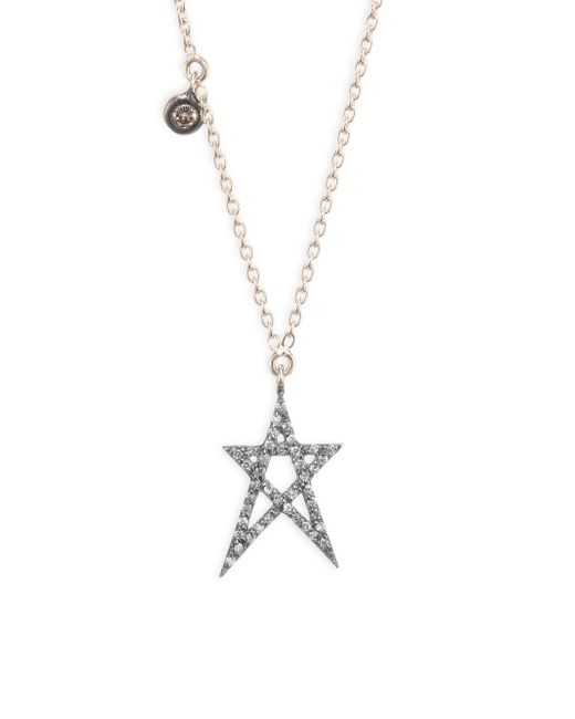 Kismet by Milka - Metallic Struck Doodle Star Champagne Diamond Solitare Necklace - Lyst