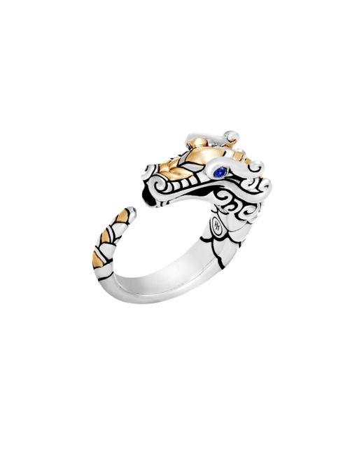John Hardy - Metallic Legends Naga 18k Yellow Gold, Sterling Silver & Blue Sapphire Dragon Ring - Silver - Lyst