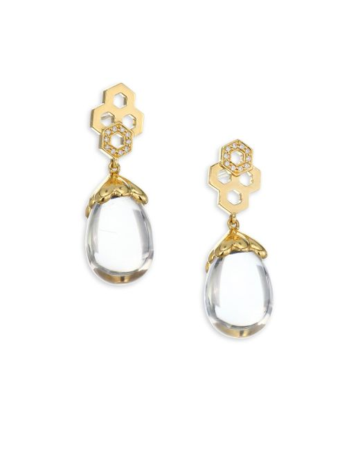 Temple St. Clair - Metallic 18k Gold & Diamond Pavé Beehive Amulet Earrings - Lyst