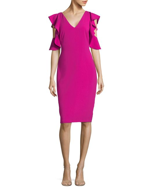 Laundry by Shelli Segal | Pink Ruffle Cold Shoulder Cocktail Dress | Lyst