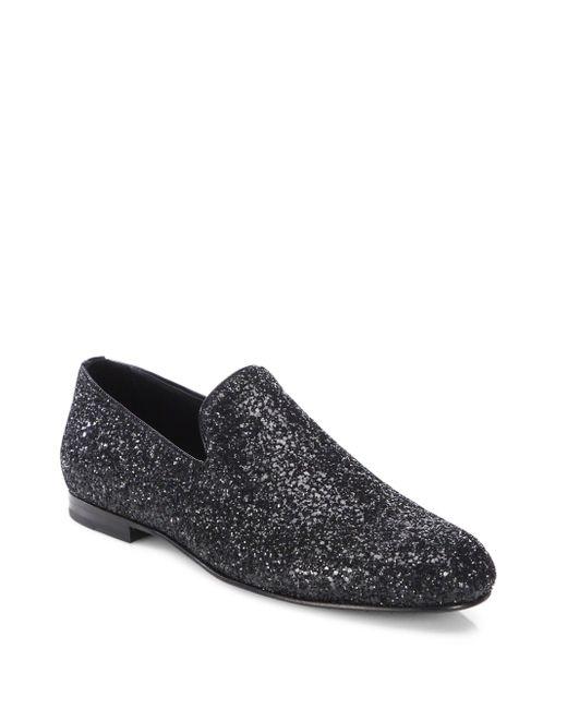 Jimmy Choo | Black Sloane Glittered Patent Leather Slippers for Men | Lyst