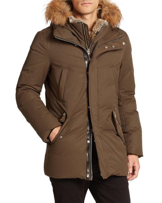 Mackage - Green Fur-trim Hip-length Down Jacket for Men - Lyst