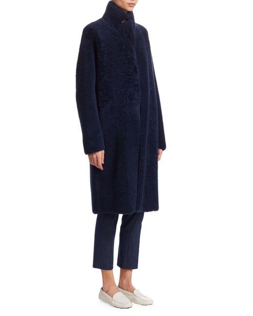 Akris - Blue Trace Shearling Reversible Coat - Lyst