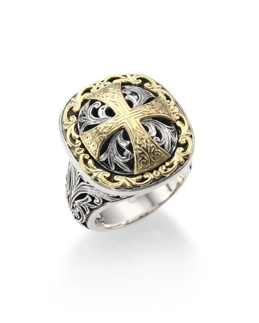 Konstantino | Metallic Classics Daphne 18k Yellow Gold & Sterling Silver Filigree Cross Ring | Lyst