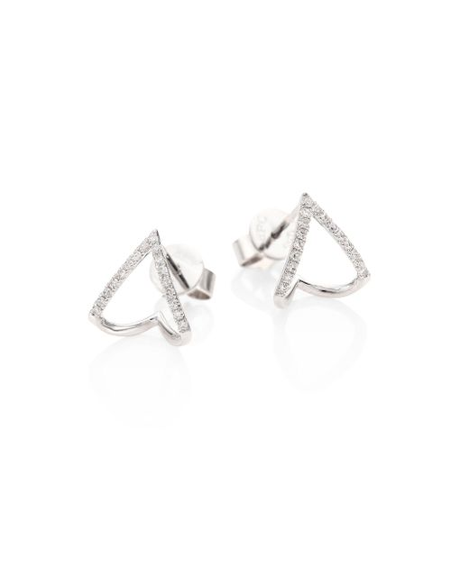 EF Collection - Metallic Mini Chevron Diamond & 14k White Gold Huggie Earrings - Lyst