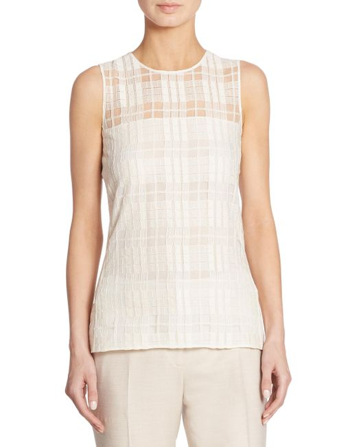 Akris | Natural Sleeveless Square Lace Blouse | Lyst