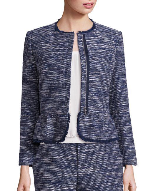 Joie | Blue Milligan Tweed Zip-front Jacket | Lyst