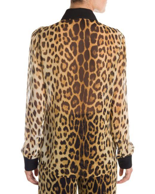 7c62535f6 ... Moschino - Multicolor Leopard Button-down Blouse - Lyst ...
