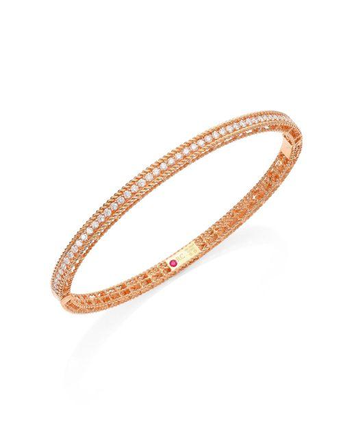 Roberto Coin - Metallic Symphony Braided Diamond & 18k Rose Gold Bracelet - Lyst