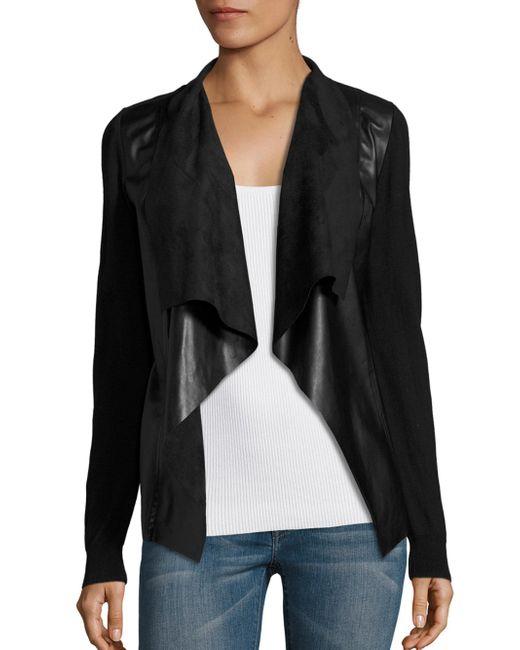 MICHAEL Michael Kors   Black Leather Drape Front Cardigan   Lyst