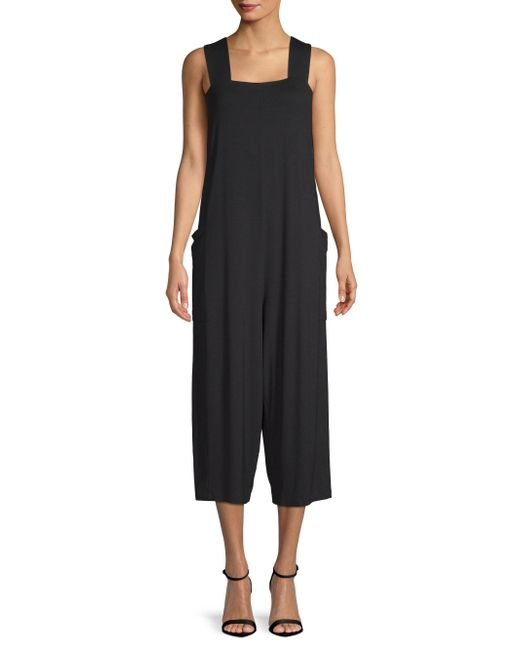 Eileen Fisher - Black Wide Strap Cropped Jumpsuit - Lyst