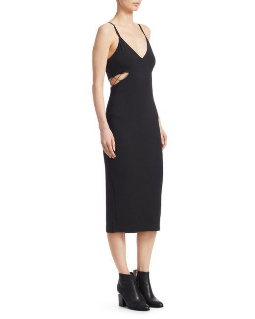 T By Alexander Wang - Black Cut-out Jersey Tank Dress - Lyst
