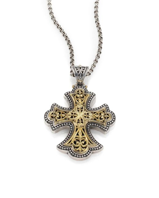 Konstantino - Metallic Classic 18k Yellow Gold & Sterling Silver Flared Filigree Pendant - Lyst