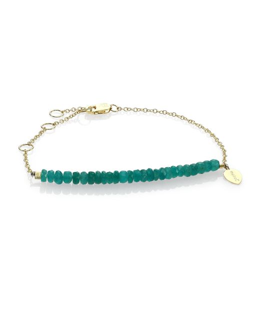 Meira T | Metallic Emerald & 14k Yellow Gold Beaded Chain Link Bracelet | Lyst