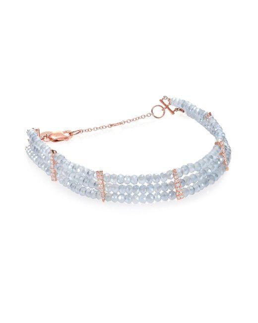 Meira T - Pink Mystic Quartz, Diamond & 14k Rose Gold Three-row Beaded Bracelet - Lyst