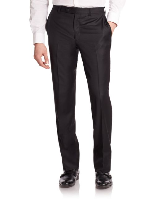 Saks Fifth Avenue - Black Wool Dress Pants for Men - Lyst
