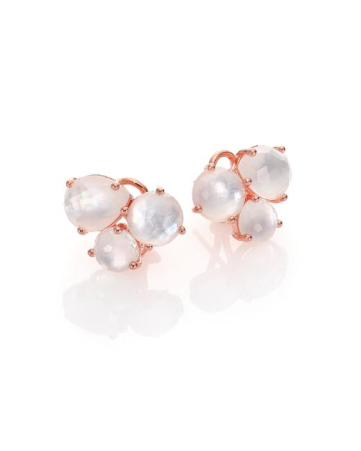 Ippolita | Pink Rose Rock Candy Mother-of-pearl & Clear Quartz Doublet Cluster Earrings | Lyst