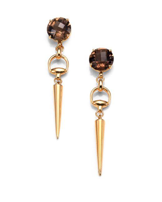 Gucci | Metallic Horsebit Smoky Quartz & 18k Yellow Gold Spike Drop Earrings | Lyst