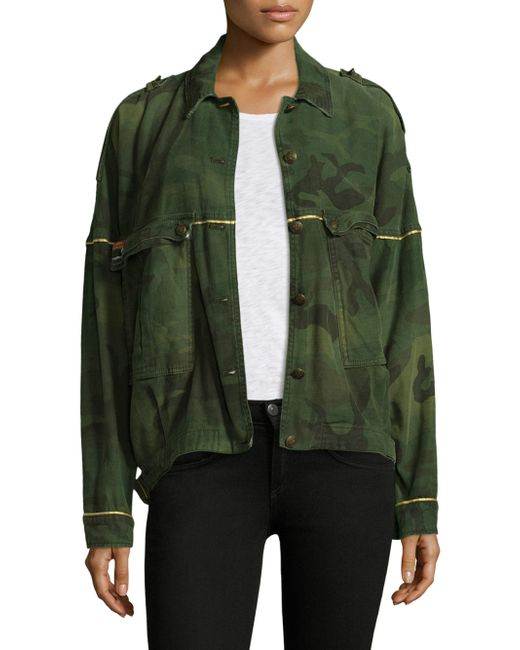 Free People   Green Slouchy Military Cotton Jacket   Lyst