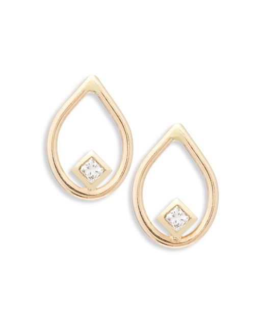 Zoe Chicco - Metallic Diamond & 14k Yellow Gold Open Teardrop Stud Earrings - Lyst