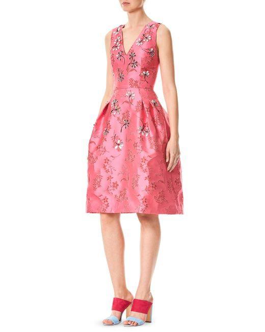 Carolina Herrera - Pink Silk Floral-print Dress - Lyst