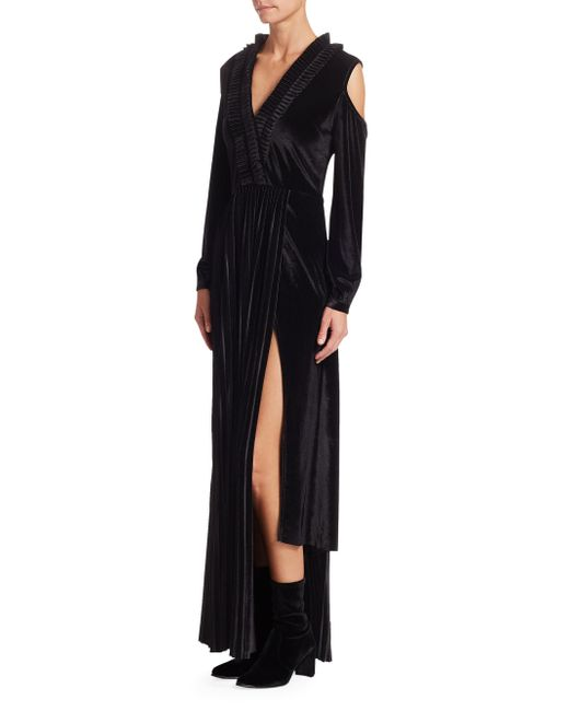 Each x Other - Black Pleated Velvet Cold-shoulder Maxi Dress - Lyst