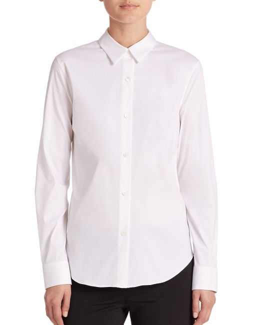 Theory - White Tenia Luxe Cotton Shirt - Lyst