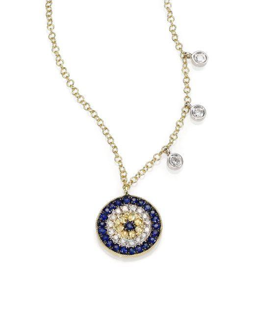 Meira T - Metallic Diamond, Blue Sapphire & 14k Yellow Gold Evil Eye Necklace - Lyst